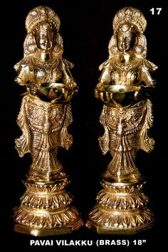 3)  Paavai vilakku         It is a brass or bronze lamp in the form of a lady holding a vessel with her hands.  This type of lamp comes in different sizes, from small to almost life-size.  There are also large stone versions of this lamp in Hindu temples and shrines of Karnataka, Tamil Nadu and Kerala, especially at the base of columns and flanking the entrance of temples.  They have only one wick.