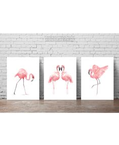 Set of 3 Flamingo Prints. Flamingo Watercolor Painting Baby Room Gift Idea…