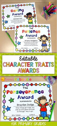 Are you looking for unique, editable awards for your students?  These character traits awards are perfect for any Kindergarten, 1st, 2nd, or 3rd grade classroom.  The best part about these end of year awards is that they celebrate inherent traits in your students instead of focusing on abilities or skills.  Each award comes in various versions (black and white, color, gender, and ethnicity) with editable fields for names and date. Go ahead, help your students feel proud of WHO THEY ARE and…