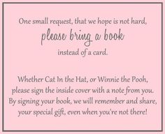 Encourage guests to bring a book to your boy baby shower with this pink book insert.