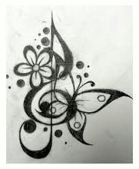 Diseño música y mariposa Tatuaje