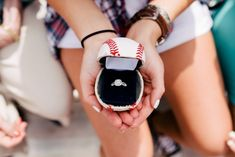 Omg, this is too cute. See how this baseball player proposed on the field, with the ring in an actual baseball!