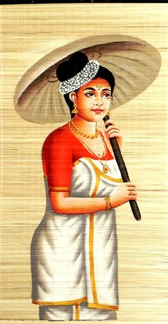 Malaylee Lady in Traditional Dress with Umbrella (Wall Hanging) (Painting on Woven Bamboo Strands) Indian Women Painting, Indian Art Paintings, Ravivarma Paintings, Indian Traditional Paintings, Traditional Art, Painting Of Girl, Parrot Painting, Umbrella Painting, Kerala Mural Painting