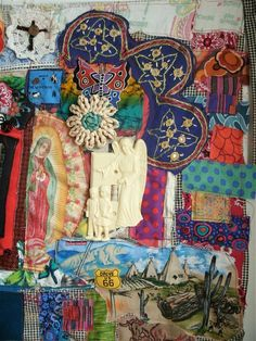 MEXICAN Altar SHRINE Folk ART Textile Assemblage Collage. via Etsy.