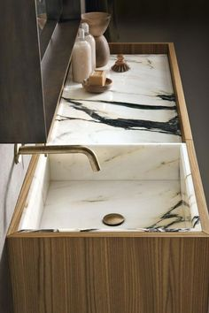 beautiful bathroom vanitysink detail by altamarea bathroom boutique great use of wood and stone