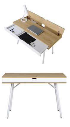 This minimalistic desk cuts out all unnecessary details in favor of extra storage space – the drawer doesnt even have a handle, but instead uses a simple cutout, easy to grasp and fitted with multiple compartments for easy organization. Smooth wood laminate and powder-coated steel legs provide unprecedented sturdiness for the price.