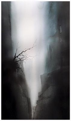 Andreas W Gortan Watercolor Artwork, Watercolor Landscape, Watercolor And Ink, Watercolor Illustration, Abstract Landscape, Art Plastique, Art Techniques, Watercolors, Art Photography