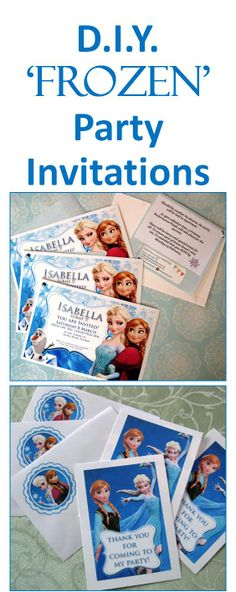 Make your own Disney Frozen kids party invitations. Read how in the blog: http://easybreezyparties.com.au/party-inspiration-and-ideas/item/47-diy-frozen-party-supplies.html #kidsparty #invitations #frozen #easybreezyparties
