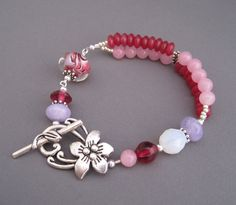 Flower Garden Bracelet -  Lampwork Glass Multi-Strands of Pink and Purple gemstones