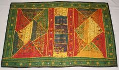 """LARGE RASTA BEADED INDIAN TAPESTRY WALL HANGING VINTAGE ART THROW 56""""x 36"""" E"""