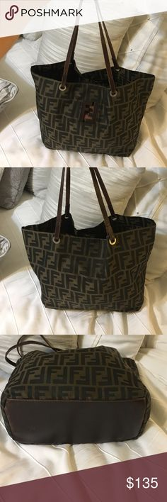 """Vintage Fendi handbag Vintage bag, straps in good condition, leather at the bottom of bag a little faded from normal wear, no holes, corners of bottom of bag are in good condition, measurements are 15""""10""""6...strap drop is 9 inches...NO DUSTBAG Fendi Bags Totes"""