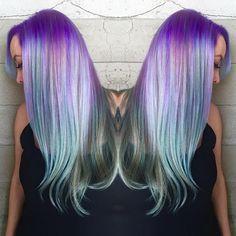 Rainbow hair color by Caroline @carolina_anythingbutbasic hotonbeauty.com mermaid hair unicorn hair
