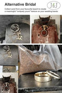 The slow ancient technique of sand casting produces a unique and beautiful texture on every piece. Your gold jewellery will be cast directly in the sand you provide, giving your piece a one-of-a-kind meaningful texture…especially created just for you. Wedding Sand, Wedding Rings, Gold Jewellery, Bridal Jewelry, Ancient Words, Sustainable Wedding, Sand Casting, Custom Jewelry Design, Ancient Jewelry
