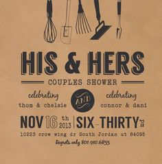 Wedding couples shower invitation