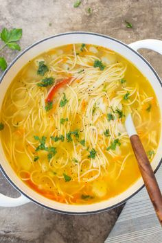 This simple Russian soup recipe is a delicious recipe made with chicken, vegetables and noodles. This simple Russian soup recipe is a delicious recipe made with chicken, vegetables and noodles. Brothy Soup Recipes, Chicken Soup Recipes, Easy Soup Recipes, Great Recipes, Cooking Recipes, Vegetarian Cooking, Easy Homemade Soups, Homemade Chicken Soup