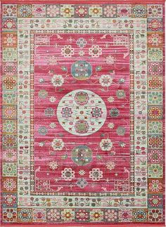 Bungalow Rose Lonerock Pink Area Rug Rug Size: Rectangle x Floral Area Rugs, Blue Area Rugs, Rugs Online, Animals For Kids, Traditional Design, Bright Pink, Pink Light, Colorful Rugs, Rug Size