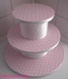 DIY Tiered Cupcake Stands | I♥cuppycakes!  foam board one! With round cake boards. And glue stick!