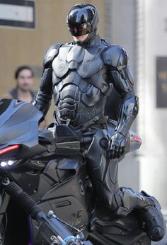 Joel Kinnaman on set of RoboCop filming on King and Victoria in Toronto, Canada