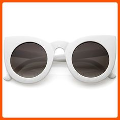 zeroUV - Womens Oversized Bold Rim Round Cateye Sunglasses (White) - Sunglasses (*Amazon Partner-Link)