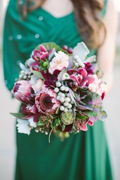 #winter wedding #protea, #bouquet| Photography: Taylor Lord Photography