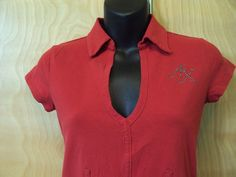 Women's Armani Exchange Red Top Blouse Tee size S #Armani #KnitTop #Casual