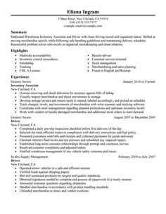 inventory associate and driver resume sample perfect resumeresume writing