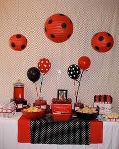 Polka Dot Birthday Supplies, Decor, Clothing: Heather's Red & Black Polka Dot Ladybug Party