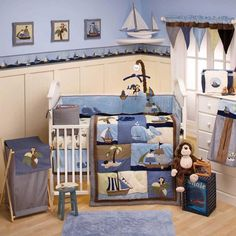 Ahoy Mate 6 Piece Baby Crib Bedding Set with Bumper by Nojo