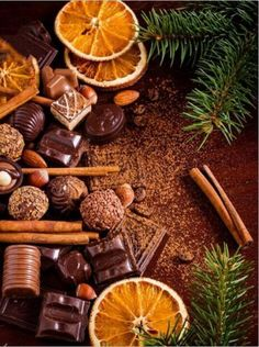 Christmas sweets: assortment of chocolates, truffles, candies, chocolate barks, spices and nuts. Christmas spirit still life Merry Christmas, Christmas Mood, Christmas Sweets, Christmas And New Year, Christmas Decorations, Christmas Oranges, Wallpaper Natal, Illustration Noel, Christmas Aesthetic