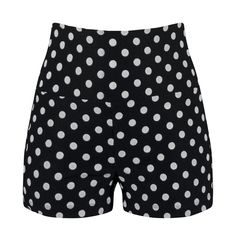 High Waisted Polka Dot Shorts - Black