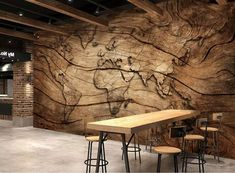 Murwall Map Wallpaper Wood World Map Wall Mural Vintage Map Wall Art Map Retro Wall Decor Cafe Design Living Room Bedroom Entryway Wood World Map, World Map Mural, World Map Wallpaper, Wallpaper Size, Bedroom Wallpaper, Wallpaper Murals, Retro Wallpaper, Wallpaper Ceiling, Office Wallpaper