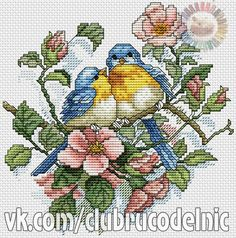 Completed August 2001 Leisure Arts Favorite Perch - Parula Warblers x Cross Stitch Love, Cross Stitch Cards, Beaded Cross Stitch, Cross Stitch Flowers, Cross Stitch Designs, Cross Stitching, Cross Stitch Patterns, Bird Embroidery, Cross Stitch Embroidery