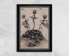 A mountain of skulls surrounds three ragged celtic crosses formed from dead sticks and tattered rags. In the distance crows circle silently in the sky. You can almost hear the wind rustling the cloth and branches in this tranquil, but grim, scene.  - High Quality Giclee Print on Fine Art Paper - Sizes: 8x12, 13x19, 16x24 - Framed: No - Original Artwork: Pen & Ink on Paper  This is a reproduction print of the original Pen & Ink Drawing by Rebecca Magar.