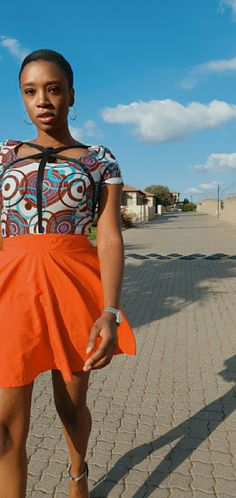 African print/Ankara Top with skater skirt Ankara Designs, Ankara Tops, African Prints, Lily Pulitzer, Skater Skirt, Skirts, Red, Dresses, Fashion