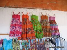 Womens dresses hanging in the market in Chapala, Mexico.