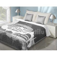 Sivo biely prehoz na posteľ motív pamiatky