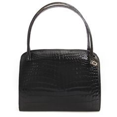 6ae223acb817 Labellov Delvaux Vintage Black Croco Bag ○ Buy and Sell Authentic Luxury