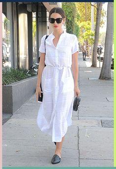Lily Aldridge wearing a white shirt dress