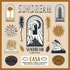 Sundream Coffee by forget to share your work with Graphic Design Trends, Graphic Design Inspiration, Typography Design, Branding Design, Badge Design, Photography Logos, Design Reference, Print Design, Surf Design