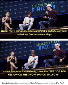 Tom Felton and Grant Gustin