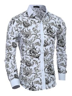 Cheap Casual Shirts, Buy Directly from China Suppliers:Camisas Hombre Vestir Dress Shirts Mens Shirt Slim Fit Chemise Homme Men Shirt Ethnic Flowers Heren Hemden Camisa Masculina XXL Cool Shirts For Men, Casual Shirts For Men, Men Casual, Long Sleeve Shirt Dress, Long Sleeve Shirts, Dress Shirts, Camisa Multicolor, Business Dress, White Fitted Dress