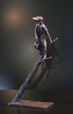 Meercat Lookout - Bronze Sculpture of a meercat on a branch by Bruce Little Bronze Sculpture