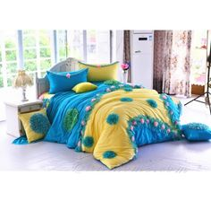 Blue Pink Yellow Chiffon Floral Girls Ruffle Bedding