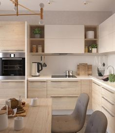 simple and modern style kitchen design for small kitchen decorating ideas or kitchen remodel Kitchen Room Design, Kitchen Cabinet Design, Modern Kitchen Design, Kitchen Layout, Home Decor Kitchen, Interior Design Kitchen, Home Kitchens, Interior Livingroom, Kitchen Sets