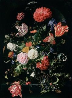 Flowers in a Glass Vase, c.1660 (oil on panel) Wall Art & Canvas Prints by Jan Davidsz de Heem