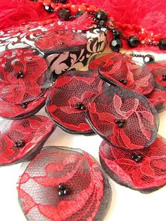 Handmade organza flowers- sew on appliques    Diameter- approximately 2 inches (±0.25)(5cm ±0.6);    Materials used- organza fabric, lace, glass beads;    Colors- shimmer black organza, red lace, black beads;    Quantity- 15pcs;    Versatile- can be used for various sewing, embellishing, decorating projects (clothes adornment, hair accessory making, house or table decorating, bouquet arrangement and etc...)    Custom orders are welcome!  Please contact me if youre interested in custom or…