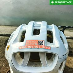 2016 ICEdot Emergency Notification and Identification helmet sticker on a POC Octal MIPS helmet. Contains site URLID# and QR code for EMTs to quickly find all your health/insurance info and contact relatives in case you get KO'd on the road.  Get Sprocket the bike info app. Link in bio.  #POCoctal #ICEdot #safety #crash