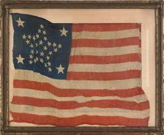 Thirty-four star American flag, ca. x - Jun 2012 American Freedom, American Pride, American Civil War, American History, American Flag, I Love America, God Bless America, Civil War Flags, Vintage Flag