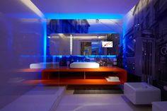 Badezimmer Spiegel Beleuchtung viereck modern blau
