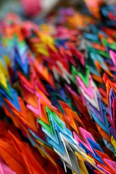 Paper crane by thien. Paper crane chains at Hiroshima Peace Park. The paper cranes comes from all over Japan and the world as a prayer for peace.